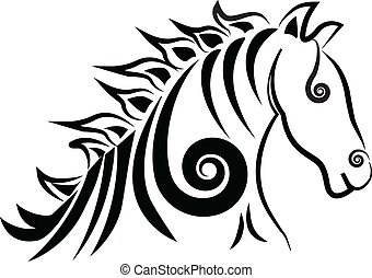 swirly, logo, cheval, vecteur