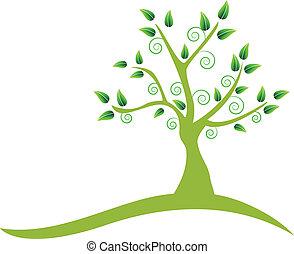 swirly, logo, träd