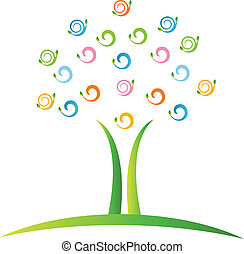 swirly, logo, vecteur, arbre, pousse feuilles