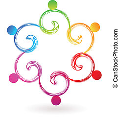 swirly, logo, wektor, teamwork, swoosh