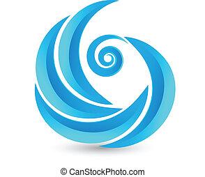 swirly, logo, wellen, ikone
