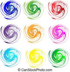 swirly, logos, colori, set, grunge