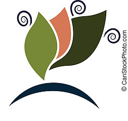 swirly, logotipo, companhia, folheia, negócio