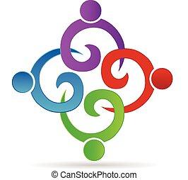 swirly, logotipo, trabalho equipe, segurando, pessoas