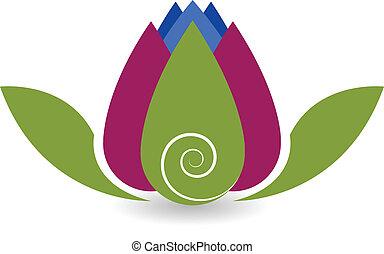 swirly, lotosowy kwiat, yoga, logo