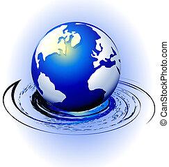 swirly, mouvement, globe, vecteur