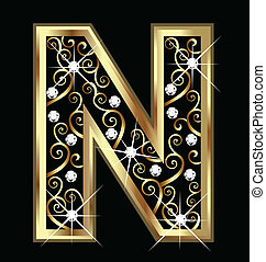 swirly, ornamenti, oro, lettera n