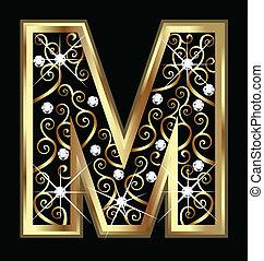 swirly, ornamentos, m, ouro, letra