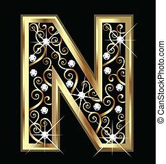 swirly, ornamentos, ouro, carta n