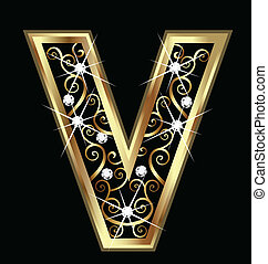 swirly, ornamentos, ouro, letra, v