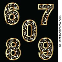 swirly, ouro, números, ornamentos