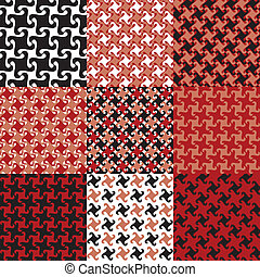 Swirly Patterns in Red and Black - Nine color variations of...