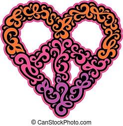 Swirly Peace Heart