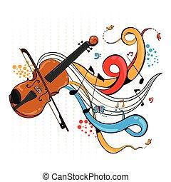 swirly, résumé, musique instrument, fond, violon, musical