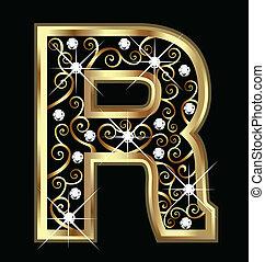 swirly, r, ornamentos, ouro, letra