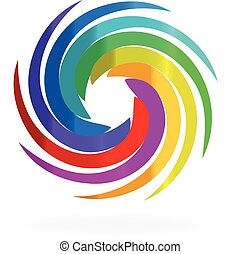 Swirly rainbow waves logo