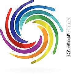 swirly, regnbåge, vågor, logo
