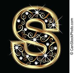 swirly, s, ornamentos, ouro, letra