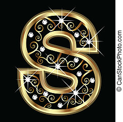 swirly, s, ornements, or, lettre