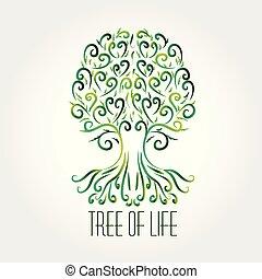 swirly, simbolo, albero, vettore, logotipo, cuori, icona