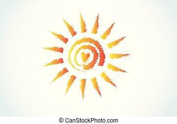 swirly, sol, grunge, coração