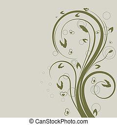 swirly, space., element, vektor, design, blommig, grön, avskrift