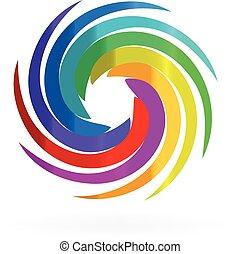 swirly, tęcza, fale, logo
