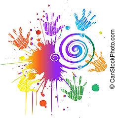 swirly, tinta, vetorial, grunge, mãos