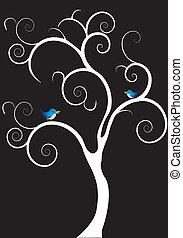 swirly tree and bird