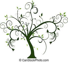 swirly tree on white background