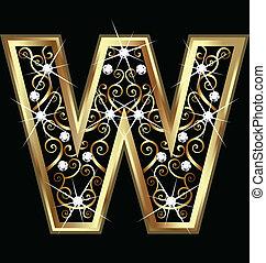 swirly, w, letra, ouro, ornamentos