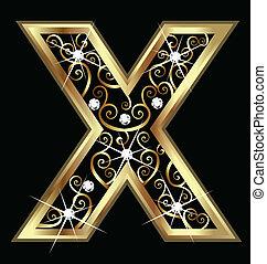 swirly, x, ornamentos, ouro, letra