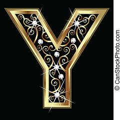 swirly, y, ornamentos, ouro, letra