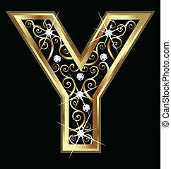 swirly, y, ornements, or, lettre