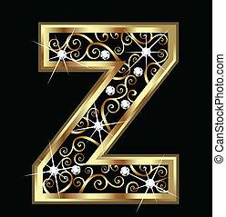 swirly, z, ornamentos, ouro, letra