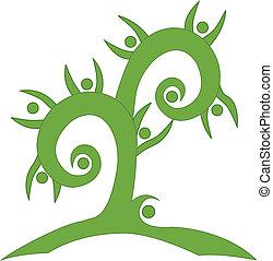 swirly, zielony, teamwork, drzewo, logo