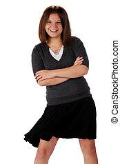 Swish! - An attractive young teen swishing her black, ...
