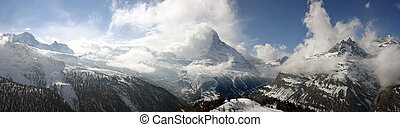 Swiss alpine panorama with the Matterhorn