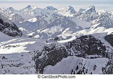 Swiss alpine peaks landscape panorama