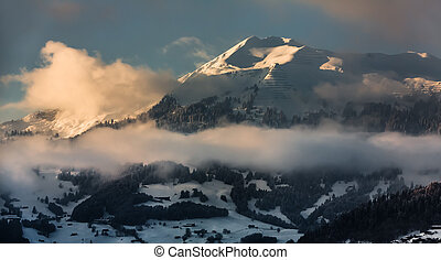 swiss alps, 近, davos, 瑞士