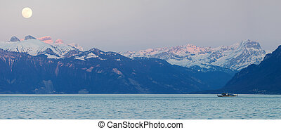 Swiss alps and Leman lake - Panoramic view of the Swiss alps...