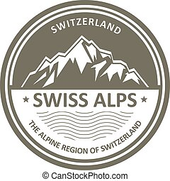 Swiss Alps emblem - Switzerland - Snowbound Swiss Alps...