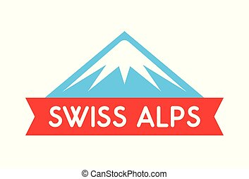 Swiss alps logo illustration, Vector emblem of mountain with ribbon and caption - Badge isolated on white background.