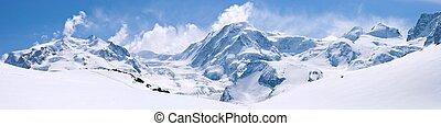 Swiss Alps Mountain Range Landscape - Panorama of Snow...