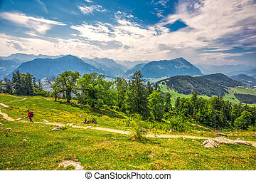Swiss Alps near Burgenstock with the view of Lake Lucerne and Pilatus mountain, Switzerland, Europe