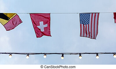 Swiss and Usa Flags