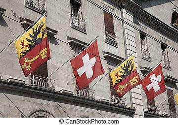 Swiss and Vaud Flags, Geneva, Switzerland, Europe