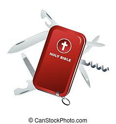 Swiss Army Knife Bible Illustration - A conceptual...