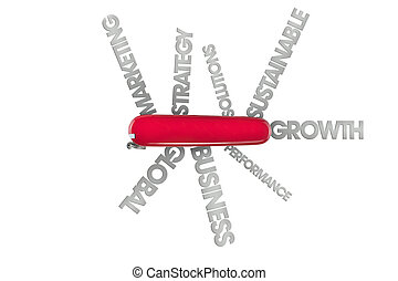 swiss army knife concept - conceptual image using words with...