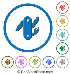 Swiss army knife icons with shadows and outlines - Swiss...
